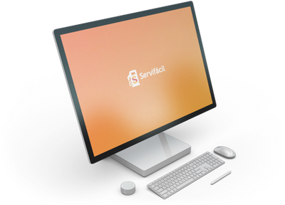 3D render of a Microsoft Surface computer displaying Servifacil's logo